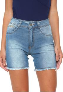 Bermuda Jeans Biotipo Reta Desfiada Azul