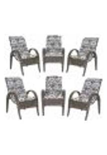 Cadeiras 6Un P/ Jardim Lazer Edicula Varanda Descanso Fibra E Tramas Napoli Plus Pedra Ferro A25