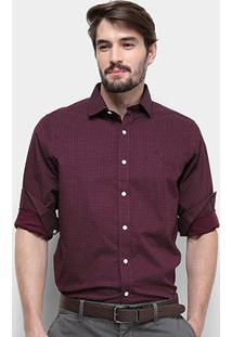 Camisa Aleatory Slim Fit Poá Masculina - Masculino-Vinho