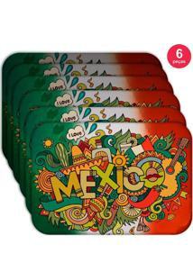 Jogo Americano Love Decor Wevans Mexico Kit Com 6 Pçs