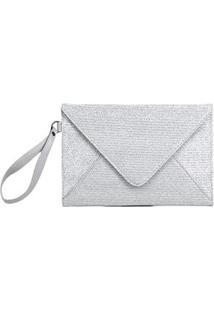 Bolsa Clutch Santa Lolla Tecido Metalizado Feminina - Feminino-Prata