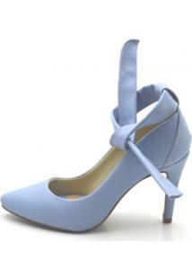 Sapato Scarpin Com Laço Salto Alto Fino Em Napa Azul Serenity