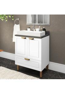 Gabinete / Balcã£O Banheiro 2 Portas 1 Gavetã£O 100% Mdf Multimã³Veis Branco - Incolor - Dafiti