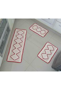 Jogo De Cozinha Crochê Vermelho Com 3 Peças - Enxovais Ibitinga