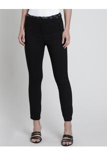 Calça Feminina Skinny Com Cinto Animal Print Cobra Preta