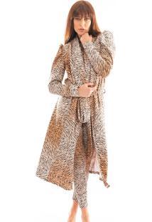 Robe Thais Gusmã£O Manga Bufante Leoparda Bege - Bege - Feminino - Dafiti