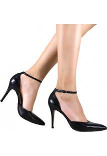 Sapato Laura Porto Scarpin Bico Fino Salto Alto Preto