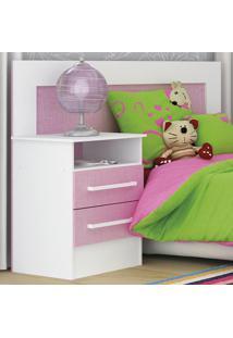 Cabeceira De Solteiro/Infantil Com Criado-Mudo 65D081 Branco/Rosa - Rodial
