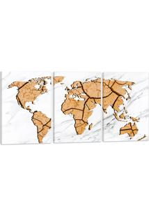 Quadro Oppen House Mapa Mundi Terra Rachada 60X120Cm Decoração Escritórios Salas Empresas
