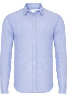 Camisa Masculina Lisa Rustica - Azul