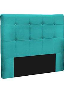 Cabeceira Slim Casal 140Cm Decor Magazine Suede Azul Tiffany