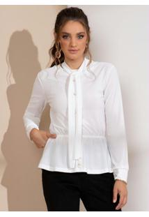 Blusa Branca Com Gola Laço E Botões Perolados