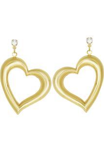 Brinco Prata Mil Trc Pedra C/ Coraã§Ã£O Estampado (Metade) Dourado - Dourado - Feminino - Dafiti