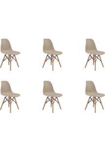 Kit 06 Cadeiras Eiffel S/ Braço Nude Rivatti