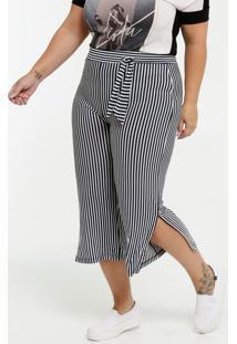 Calça Feminina Pantacourt Listrada Plus Size