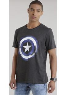 Camiseta Capitão América Cinza Mescla Escuro