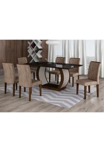 Conjunto De Mesa De Jantar Com 6 Cadeiras Maia Ii Suede Animalle Castor E Chocolate