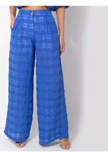 Calça Elora Textura Xadrez Feminina Azul