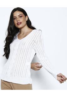 Blusa Em Tricã´ Com Recorte- Branca- Ponto Aguiarponto Aguiar
