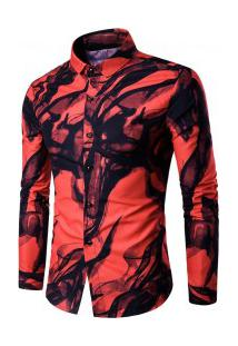 Camisa Masculina Casual Estampada Manga Longa - Vermelho