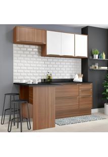 Cozinha Compacta Calábria 6 Portas Com Tampo E Rodapé Nogueira/Branco - Multimóveis