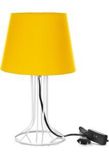 Abajur Torre Dome Amarelo Com Aramado Branco