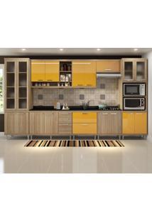 Cozinha Completa Sicília 17 Portas Com Tampo E Vidro Amarelo/Argila - Multimóveis