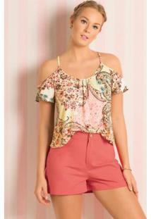Blusa Ombros Vazados Étnico Floral