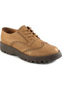 Oxford Feminino Em Couro Vazado Tratorado Sapato Show 22503