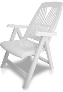 Cadeira Plástica Dobrável E Reclinável Flora Branca