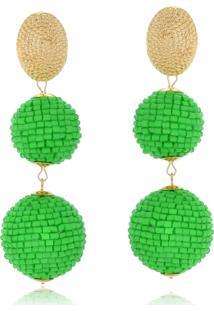 Brinco Le Diamond Bolas De Miçangas Verde