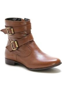 Bota Casual Couro Dia A Dia Doc Shoes Feminina - Feminino-Marrom Claro