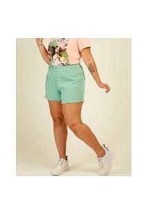 Short Plus Size Feminino Sarja Cintura Alta