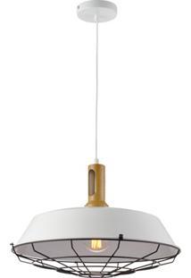 Pendente Em Aço Para 1 Lâmpada Tennesse 16X48Cm Branco