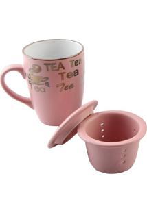 "Caneca ""Tea"" Com Borda Metálica, Tampa & Infusor- Rosa Crojemac"