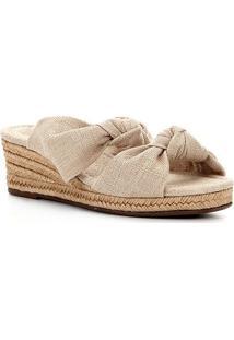 Sandália Anabela Shoestock Nó Corda Feminina - Feminino-Areia