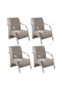 Conjunto De 4 Poltronas Sevilha Decorativa Braço Alumínio Cadeira Para Recepção, Sala Estar Tv Espera, Escritório - Veludo Capuccino