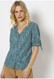 Blusa Floral Com Amarraã§Ã£O-Verde & Amarela-Vip Reservip Reserva