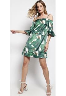 Vestido Acetinado De Folhagens- Verde & Branco- Le Fle Fix