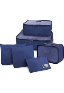 Kit Organizador De Malas De 6 Peças Jacki Design Viagem - Unissex-Azul