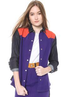 Camisa Calvin Klein Jeans Color Block Azul/Roxa