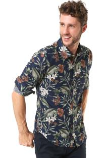 Camisa Sergio K Slim Estampada Azul-Marinho