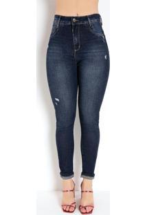 Calça Jeans Cigarrete Push Up Com Puídos Sawary