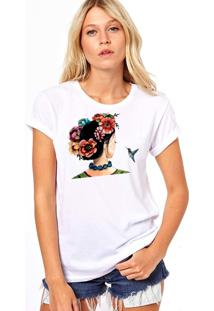 Camiseta Coolest Costas Gueixa Flores Branco