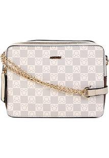 Bolsa Gash Mini Bag Alça Corrente Estampa Mickey Feminina - Feminino-Bege