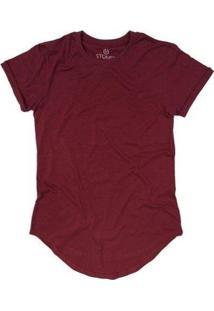Camiseta Longline Stoned Lisa Masculina - Masculino-Bordô
