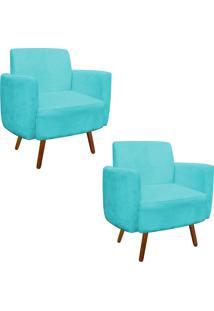 Kit 02 Poltrona D'Rossi Decorativa Agatha Suede Azul Tiffany Braços Curvos