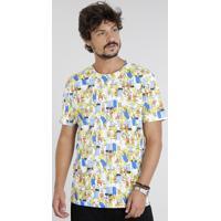 fc8085b8e Camiseta Masculina Os Simpsons Estampada Manga Curta Gola Careca Off White
