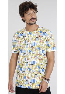 Camiseta Masculina Os Simpsons Estampada Manga Curta Gola Careca Off White