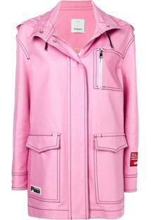 Pinko Jaqueta Oversized Com Capuz - Rosa